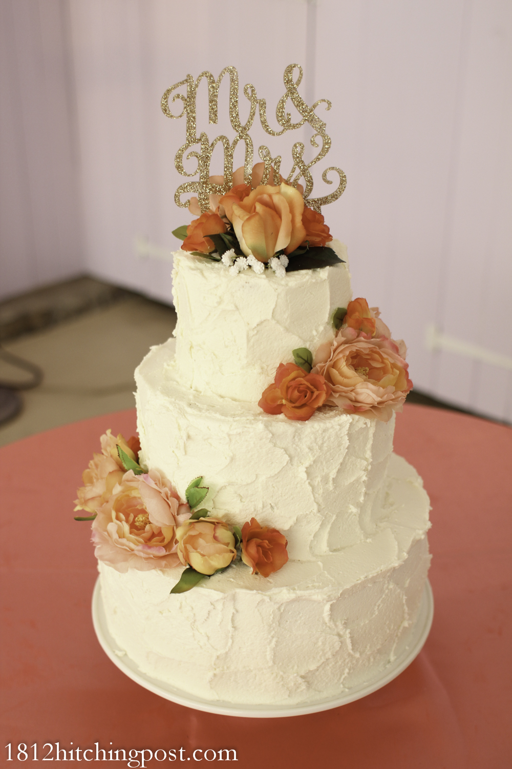 Gorgeous Peach Coral And Gold Wedding Cake