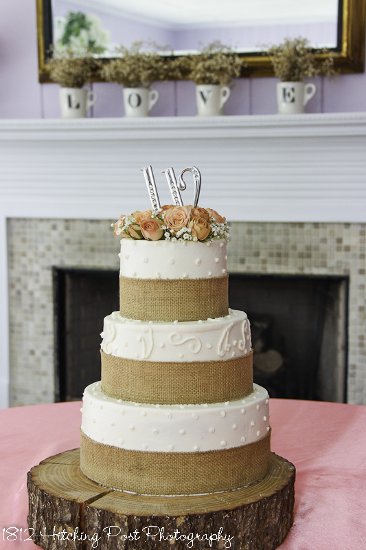 Wedding Cake Peach Ribbon And Initials