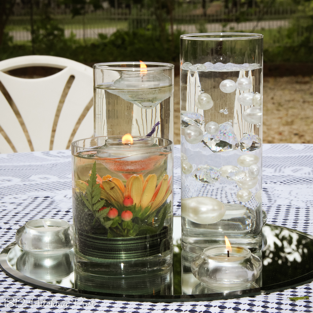 Glass vases trio of vases with live flowers floating candle and suspended pearls reviewsmspy